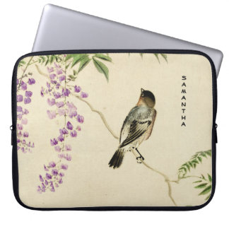 Japanese Vintage Lilac Sparrow Laptop Sleeve