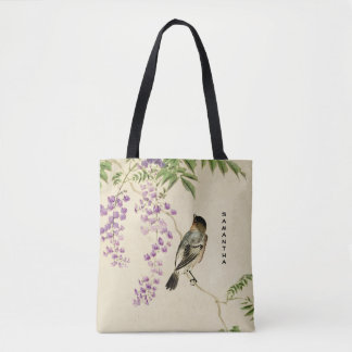 Japanese Vintage Lilac Sparrow Monogram Tote Bag