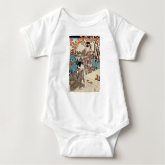 Japanese vintage ukiyo-e geisha old scroll baby bodysuit