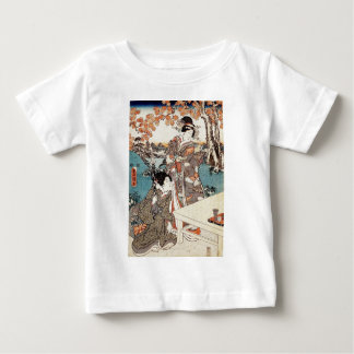 Japanese vintage ukiyo-e geisha old scroll baby T-Shirt