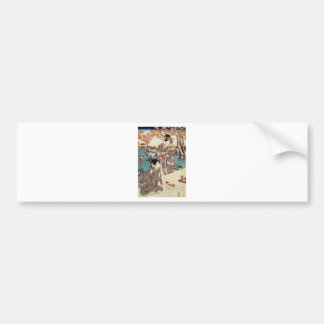 Japanese vintage ukiyo-e geisha old scroll bumper sticker