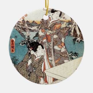 Japanese vintage ukiyo-e geisha old scroll ceramic ornament