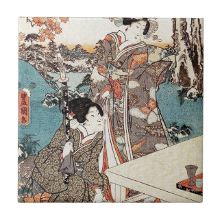 Japanese vintage ukiyo-e geisha old scroll ceramic tile