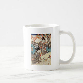 Japanese vintage ukiyo-e geisha old scroll coffee mug
