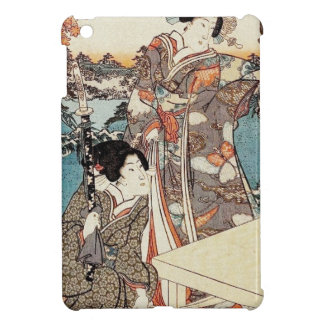 Japanese vintage ukiyo-e geisha old scroll cover for the iPad mini