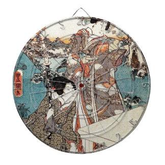 Japanese vintage ukiyo-e geisha old scroll dartboard