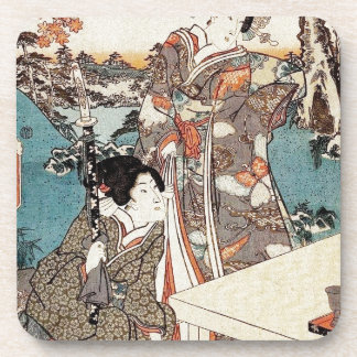 Japanese vintage ukiyo-e geisha old scroll drink coaster