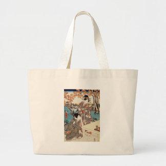 Japanese vintage ukiyo-e geisha old scroll large tote bag