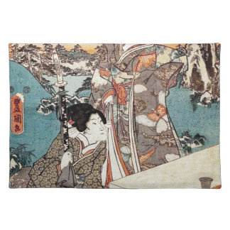 Japanese vintage ukiyo-e geisha old scroll placemat