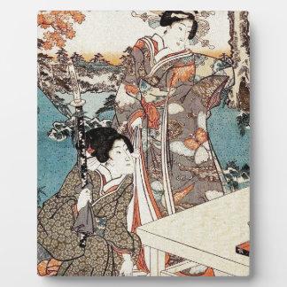 Japanese vintage ukiyo-e geisha old scroll plaque