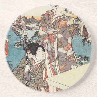 Japanese vintage ukiyo-e geisha old scroll sandstone coaster