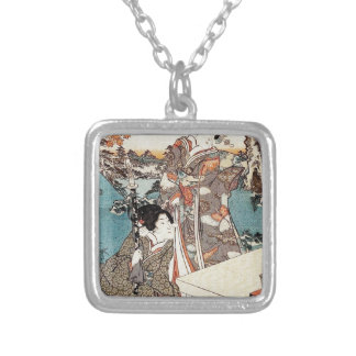 Japanese vintage ukiyo-e geisha old scroll silver plated necklace