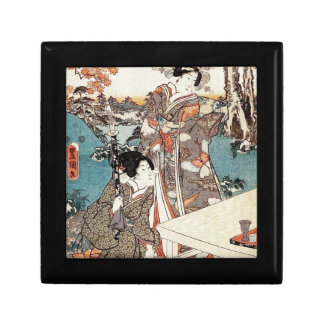 Japanese vintage ukiyo-e geisha old scroll small square gift box