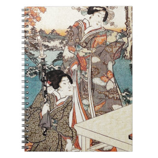 Japanese vintage ukiyo-e geisha old scroll spiral notebook