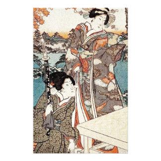 Japanese vintage ukiyo-e geisha old scroll stationery design