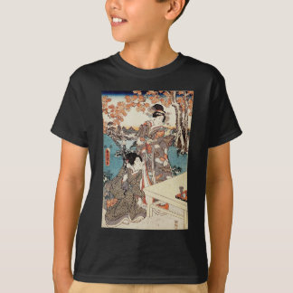 Japanese vintage ukiyo-e geisha old scroll T-Shirt