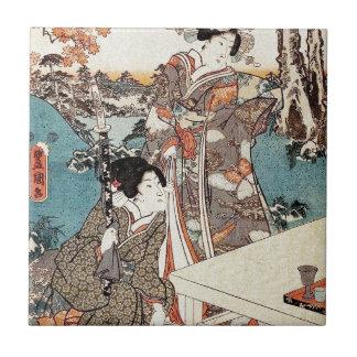 Japanese vintage ukiyo-e geisha old scroll tile