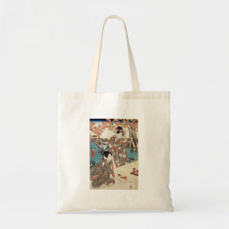 Japanese vintage ukiyo-e geisha old scroll tote bag