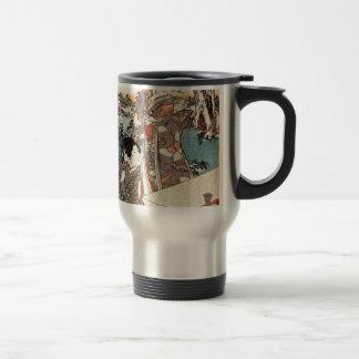 Japanese vintage ukiyo-e geisha old scroll travel mug