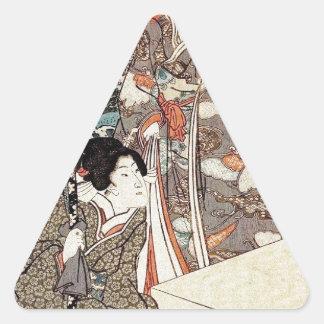 Japanese vintage ukiyo-e geisha old scroll triangle sticker