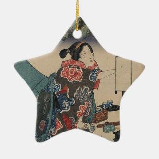 Japanese Vintage Ukiyo-e Lady Mountain Scene Ceramic Ornament