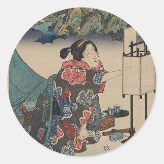 Japanese Vintage Ukiyo-e Lady Mountain Scene Classic Round Sticker