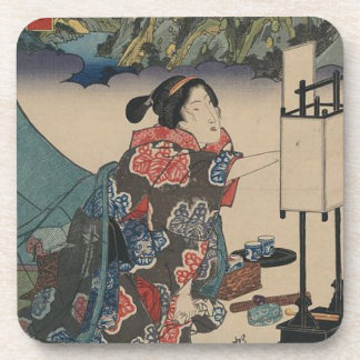 Japanese Vintage Ukiyo-e Lady Mountain Scene Drink Coaster