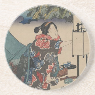 Japanese Vintage Ukiyo-e Lady Mountain Scene Drink Coasters