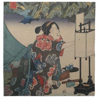 Japanese Vintage Ukiyo-e Lady Mountain Scene Napkin