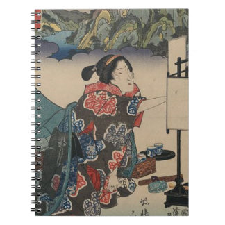 Japanese Vintage Ukiyo-e Lady Mountain Scene Notebooks