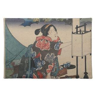 Japanese Vintage Ukiyo-e Lady Mountain Scene Placemat
