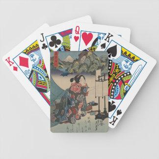 Japanese Vintage Ukiyo-e Lady Mountain Scene Poker Deck