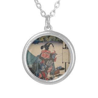 Japanese Vintage Ukiyo-e Lady Mountain Scene Silver Plated Necklace