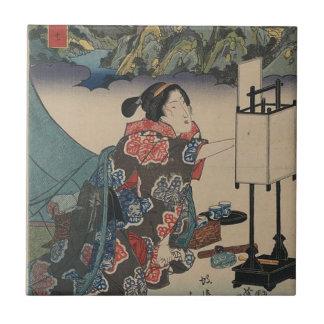 Japanese Vintage Ukiyo-e Lady Mountain Scene Small Square Tile