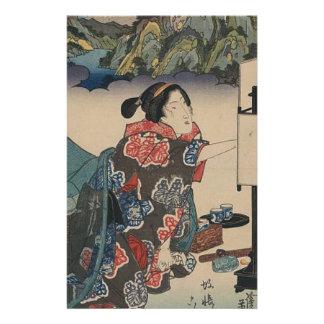 Japanese Vintage Ukiyo-e Lady Mountain Scene Stationery