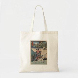 Japanese Vintage Ukiyo-e Lady Mountain Scene Tote Bag