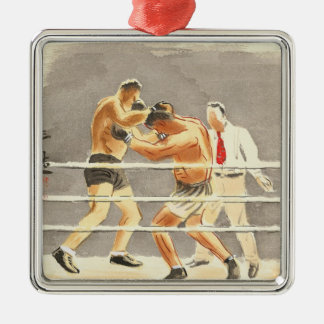 Japanese Vocations in Pictures, Boxers Silver-Colored Square Decoration