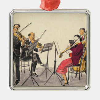 Japanese Vocations In Pictures, Players Of Music Silver-Colored Square Decoration