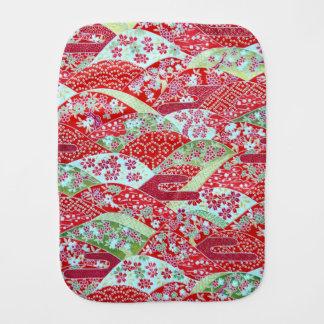 Japanese Washi Art Red Floral Origami Yuzen Burp Cloths