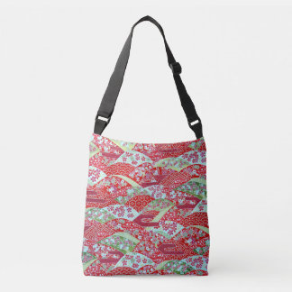 Japanese Washi Art Red Floral Origami Yuzen Crossbody Bag