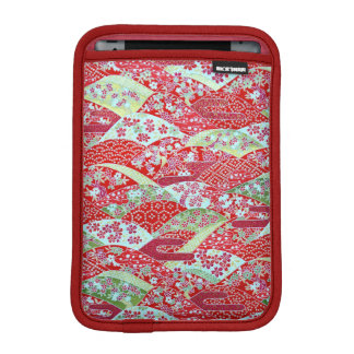 Japanese Washi Art Red Floral Origami Yuzen iPad Mini Sleeve
