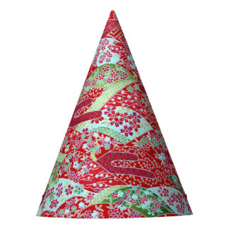Japanese Washi Art Red Floral Origami Yuzen Party Hat