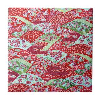 Japanese Washi Art Red Floral Origami Yuzen Tile