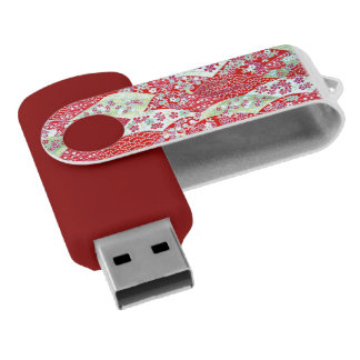 Japanese Washi Art Red Floral Origami Yuzen USB Flash Drive