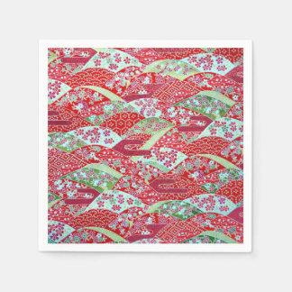 Japanese Washi Red Floral Origami Yuzen Napkins Disposable Serviette
