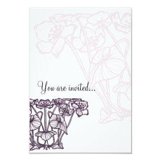 Japanese Water Lily Blossom Nouveau design purple 9 Cm X 13 Cm Invitation Card