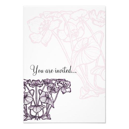 Japanese Water Lily Blossom Nouveau design purple Personalized Invitation
