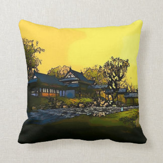 Japanese Watercolor Art Plush Throw Pillow