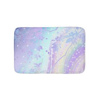 Japanese Waterfall Art Lavender Teal Aqua Floral Bath Mat