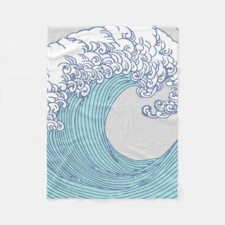Japanese Wave Art Ocean Print Blue Beach Fleece Blanket